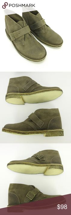 """⬇️Clarks Orig Desert Boot 9 Taupe Suede Chukka Clarks Original Women Desert Boot 9 Distressed Taupe Suede Leather Buckle Chukka  Classic Original Desert Boots #34382 Distressed by Manufacturer Antiqued Finish Buckle Crepe Sole Size - GB 7 / US 9 M  Condition - New with marks from storage on outside of left boot  All items from a smoke and pet free environment  10 1/4"""" / 26 cm Length - Toe to Heel inside 10 7/8"""" / 27.6 cm Length - Toe to Heel outside 4 1/8"""" / 10.5 cm Width at widest part of…"""
