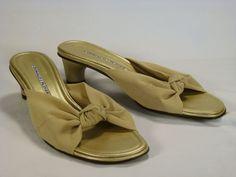 Donald Pliner Shoes 8 Sandals Slides Gold Cruise Resort J Spain #DonaldJPliner #Slides