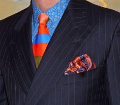 Ermenegildo Zegna pinstripe DB jacket, Perry Ellis shirt, Gene Meyer tie...