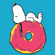 Snoopy on a doughnut.