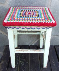 Wooden Stool with crochet cover, fun and easy to make