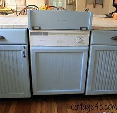 Creating a Built-In Look for Your Dishwasher I recently painted my kitchen cabinets, and wanted to give the dishwasher a built-in look. We used beadboard and 1...