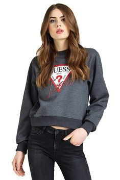 Guess Sweat crop ample en coton logo Sweat-shirts Gris L coton Pullover, Denim, Sweatshirts, Jeans, Sweaters, Jackets, Fashion, Gray, Cotton