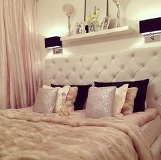 Girly feminine bedroom nude pink bed tufted headboard celebrity britney spears home house decor ideas black pillows how to decorate bed