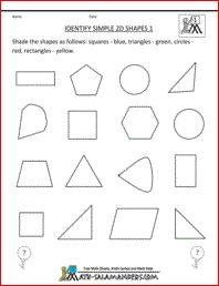 Identify Simple 2D Shapes, 1st grade geometry worksheet