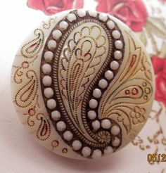 Large Lovely Very Old Antique Victorian Glass Button Paisley Shape Brass Shank | eBay