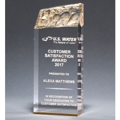 Our Gold Acrylic Iceberg Trophy is made with thick acrylic with a reflective gold bottom. is is & is size, all include free engraving! Acrylic Trophy, Acrylic Awards, Gold Accents, Laser Engraving, Adhesive, Appreciation, Crystals, Gifts, Military