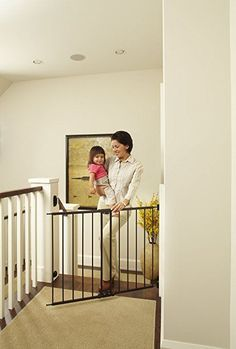 Baby Gate for Stairs with Swing Door Hardware Mounted Modern Walk Thru Safety #NorthStates