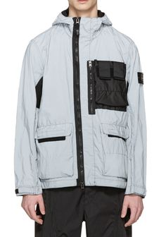 Stone Island Silver Reflective Jacket from SSENSE (men, style, fashion, clothing, shopping, recommendations, stylish, menswear, male, streetstyle, inspo, outfit, fall, winter, spring, summer, personal)