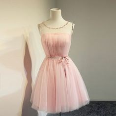 Short Tulle Pink Homecoming Dress,Simple Cute Popular Cheap Homecoming…