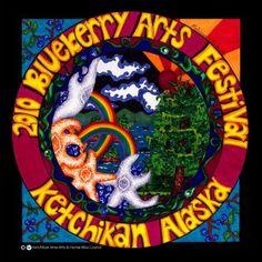 Blueberry Art Festival - this year in Ketchikan Alaska .Love this festival! Festival T Shirts, Art Festival, Rainy City, Ketchikan Alaska, Festivals, Blueberry, Artist, Shirt Designs, Fun