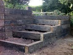 sleeper steps Sleeper Steps, Garden Fencing, Fence, Railway Sleepers, Tool Sheds,