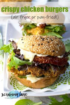 These crispy chicken burgers are a quick and easy crowd pleaser your whole family will love. Ready in just 30 minutes, they'll become a go-to meal! Air fry, or pan fry if you prefer. #chickenburgers #burgers