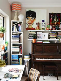 Eclectic, Contemporary Office Space with Old Piano and Canvas'