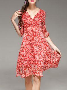 #AdoreWe #StyleWe Midi Dresses - PHILIS Floral A-line Frill Sleeve Surplice Neck Silk Midi Dress with Belt - AdoreWe.com