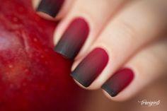Red and Black Degrade Nail Art - Uñas en degrade rojo y negro