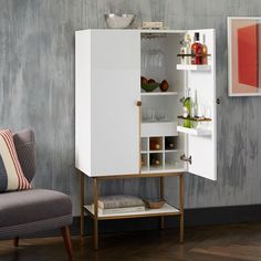 Downing Bar Cabinet - White/Antique Brass