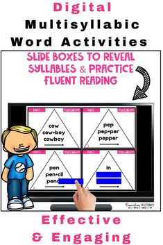 Many elementary students struggle to decode multisyllabic words. Digital 2 Syllable Word Triangle Cards & Comprehension Task Cards are effective activities to boost phonics skills. These activities contain words in the six syllable types. Example: Open syllables, closed syllables & more. This resource not only builds decoding skills & word fluency! It also builds vocabulary so that reading comprehension is strengthened. #phonics #comprehension #conversationsinliteracy