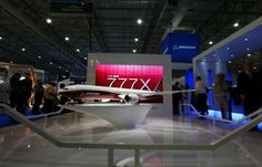 A model of the Boeing 777-9X is displayed during the Dubai Airshow on Sunday, in the United Arab Emirates' capital Dubai.