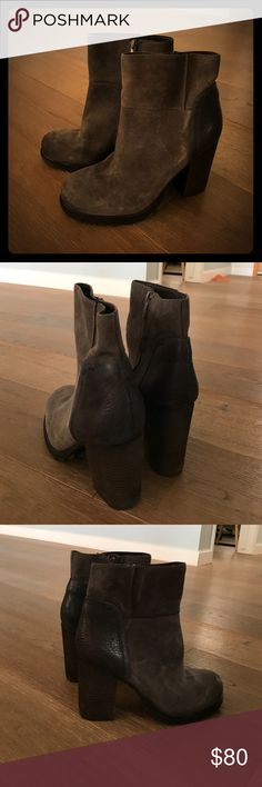 """Sam Eldeman Franklin Booties size 9M. Like new Like New Sam Eldeman Franklin Booties size 9M. Grey color. 4"""" heel. 7.5 boot shaft. Side zip closure. Leather upper / synthetic lining and sole. Sam Edelman Shoes Ankle Boots & Booties"""