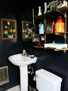 Dark Walls + Wall Shelves #Bathroom