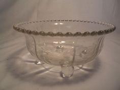 Vintage Footed Glass Bowl Etched Flower & Leaf Pattern