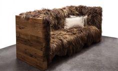 Sofa Überzug Island Schafsfell-Eiche Altholz