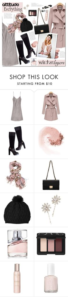 """Winter Layers: Slip Dress"" by mada-malureanu ❤ liked on Polyvore featuring Versace, NARS Cosmetics, Dolce&Gabbana, Jennifer Behr, HUGO, Show Beauty, Essie, Sheinside, slipdress and shein"