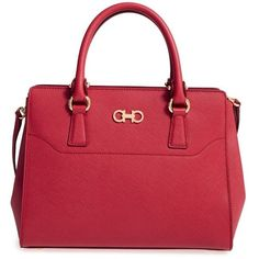 Women's Salvatore Ferragamo Beky - Small Leather Tote (89.485 RUB) ❤ liked on Polyvore featuring bags, handbags, tote bags, pamplona, leather tote bags, leather shopper tote, shopping tote bags, red tote and red leather purse