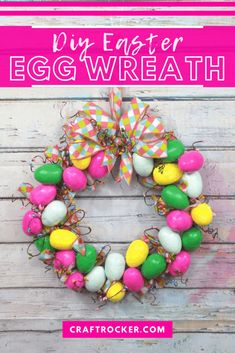 Dress up your door for spring in a colorful way with this DIY Easter egg wreath! This step-by-step tutorial makes it easy! #eastereggwreath #diyeasterwreath #colorfuleasterwreath #eggwreath #craftrocker Frame Wreath, Door Wreath, Wreath Crafts, Wreath Ideas, Easter Ideas, Easter Crafts, Modern Wreath, Easter Activities, Diy Pins