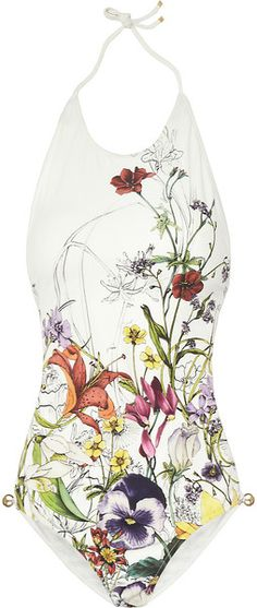 gucci Floral-Print Backless Swimsuit - Lyst