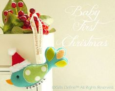 Holiday Santa Bird Baby First Christmas 2012  - Personalized with Newborn Name - Baby Shower Gift - Stocking Stuffer - Tree Ornament