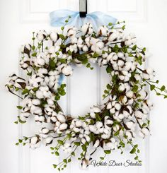 Cotton Boll Wreath by WhiteDoorStudios on Etsy