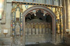 The tomb of Bishop Thomas Hatfield (died in Durham Cathedral, including the arms of Vavasour on the right hand side. Blazon - Or a fess dancetty Sable. Durham City, St Johns College, Durham Cathedral, Countryside, Scenery, Arms, Spirituality, England, Painting