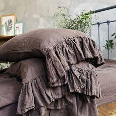 Linen RUFFLE PILLOW SHAM. Chocolate brown color linen pillow