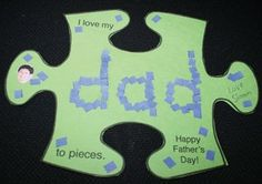 """""""I love my dad to pieces!"""" Father's Day card. FREE template. Blank pattern…"""