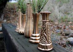 Set of 5 Painted Milk Glass Vases - Copper Bud Vases - Wedding Decor - Home Decor - Gold Wedding