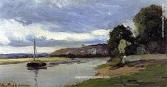 Camille Pissarro Banks of a River with Barge, 1864 painting outlet for sale, painting Authorized official website