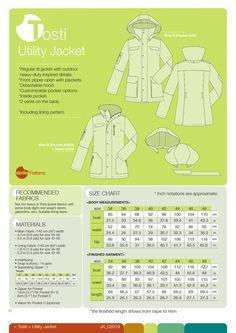 Waffle Patterns pdf sewing patterns Utility Jacket Tosti