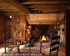 Rustic cabin with an amazing fireplace that is almost an inglenook. I live the look of this place. It transports me through space and time. Primitive Homes, Primitive Fireplace, Rustic Fireplaces, Cozy Fireplace, Rumford Fireplace, Cabins And Cottages, Log Homes, Country Decor, My Dream Home