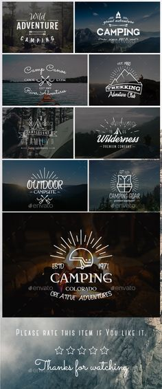 Outdoor Vintage Badges & Logos Set by JeksonJS Set of 9 Vintage outdoor explorer and adventure labels, logos, emblems. All badges are fully editable (including tex Retro Design, Logo Design, Graphic Design, Vintage Designs, Typography Letters, Hand Lettering, Outdoor Logos, Vintage Labels, Logo Vintage
