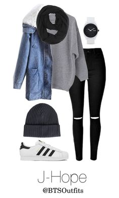 """Winter Date with J-Hope"" by btsoutfits ❤ liked on Polyvore featuring Paula Bianco, Amanda Christensen, Nixon and adidas"