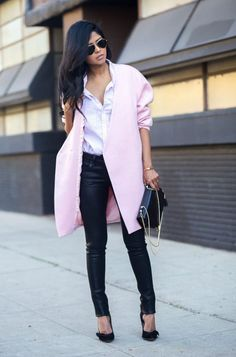 6. Coated Jeans With Pastel Coat 2017 Street Style
