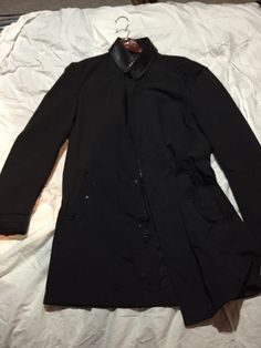Black jacket with leather collar