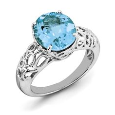 Sterling Silver Rhodium Oval Blue Topaz Ring QR3178BT