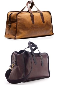 Great gym bags made from vintage 1930s baseball gloves. Love it.