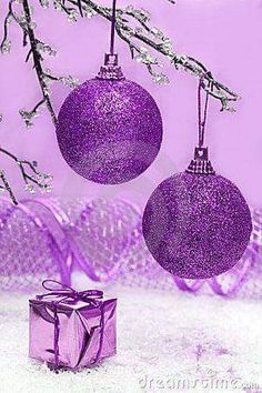 Photo about Violet Christmas balls and gift box. Image of navidad, party, ribbon - 3918904 Purple Sparkle, Purple Love, All Things Purple, Purple Lilac, Purple Rain, Shades Of Purple, Purple Stuff, Blue, Purple Christmas Decorations