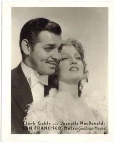 Clark Gable and Jeanette MacDonald in promotion of SAN FRANCISCO (1936) on MGM promotional photo -