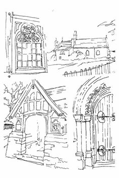 ST WDDYN'S CHURCH - | by PARK@ARTWORKS Adult Coloring, Artworks, Saints, Ink, Drawings, Painting, Adult Colouring In, Art Pieces, Painting Art