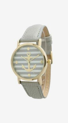 Gray Striped Anchor Print Watch
